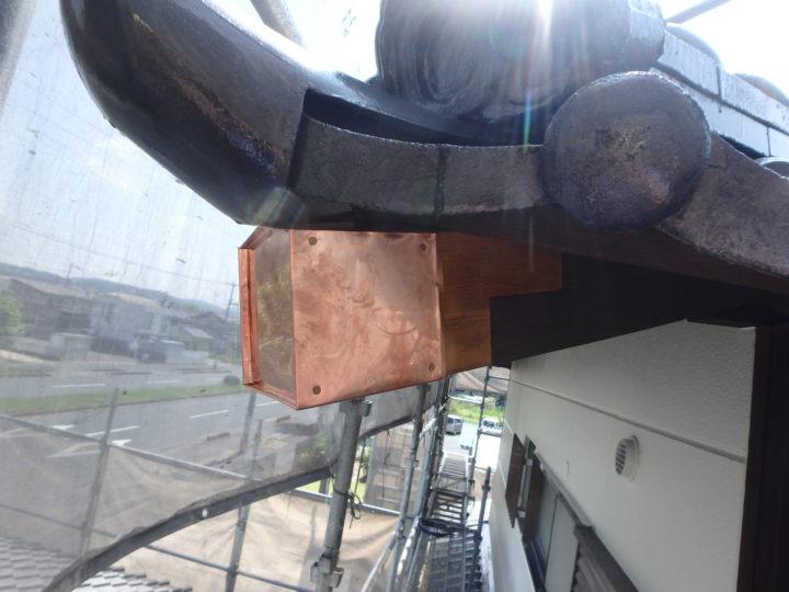 棟木銅板巻き補修
